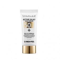 Солнцезащитный крем с комплексом пептидов и шёлка MEDI-PEEL Active Silky Sun Cream SPF50+/PA+++