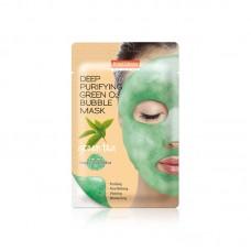 Кислородная тканевая маска Purederm Deep Purifying Pink O2 Bubble Mask Green Tea