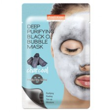 Кислородная маска для лица Purederm Deep Purifying Black O2 Bubble Mask Charcoal