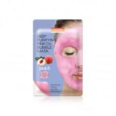 Кислородная тканевая маска Purederm Deep Purifying Pink O2 Bubble Mask Peach